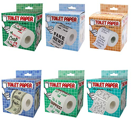 Island Dogs Novelty Toilet Paper Variety 6-Pack Assorted Rolls of Bathroom Gag Jokes