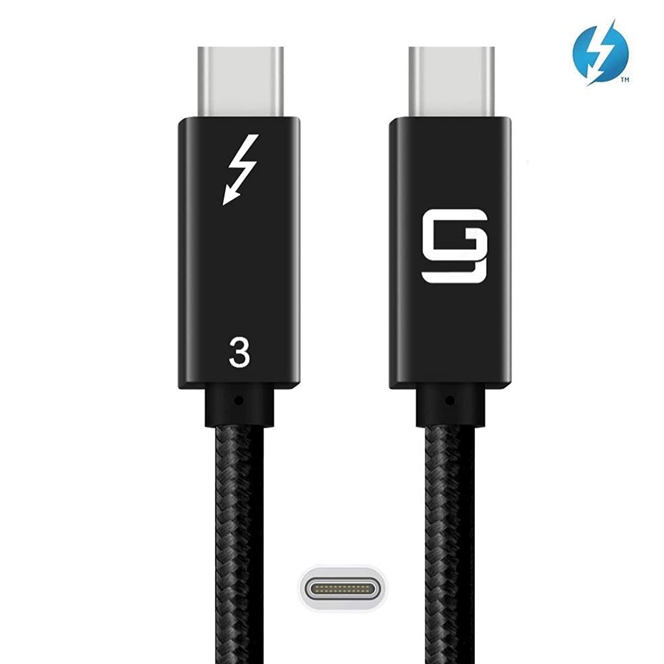 Thunderbolt 3 Cable [Certified] (40Gbps) 100W (USB-C Compatible) 6ft Nylon Braided, Type C 4k or 5k @60hz (6.6ft/20Gbps)