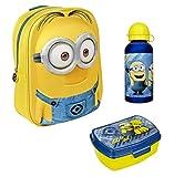 Familando Kindergarten-Rucksack Minions Dave 3tlg. Set mit Brotzeit-Dose und Alu-Trinkflasche