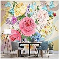 カスタム壁画 フラワーズ 3Dの壁紙 リビングルームテレビソファの家の装飾 -350x250cm/138x98inch