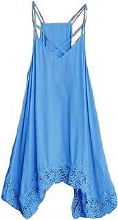 neveraway Womens Sling Solid Summer Asymmetric Hem V-Neck Loose Long Dress