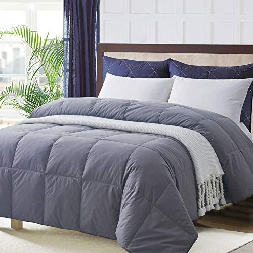 Ubauba All-Season Down Comforter 100% Cotton Hypoallergenic Quilted Feather Comforter with Corner Tabs. Lightweight Goose Down Duvet Insert Grey Cotton Comforter - Queen/Full 90x90