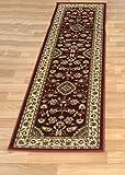 Alfombra larga, moderna, tradicional, peluda para pasillo, alfombra camino de pasillo en múltiples colores, polipropileno, Sherborne Red, 60 x 230 cm (2' x 7'7')