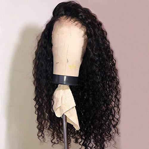 Fureya Glueless No Lace Wigs Curly Wave Black Synthetic Hair Middle Part Wigs for Black Women 24 Inch Loose Curl Hair