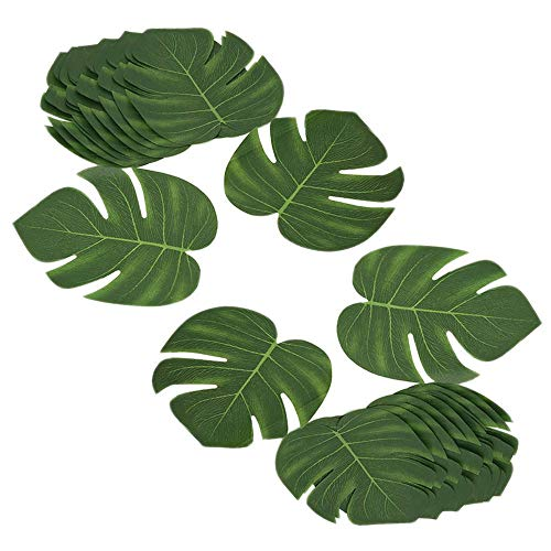 DELSEN 24 Stück Medium Künstlich Tropische Blätter gefälschte Palmblatt Palme Monstera für Hawaiian Luau Jungle Beach Theme Party Dekorationen(20 x 17,5cm)