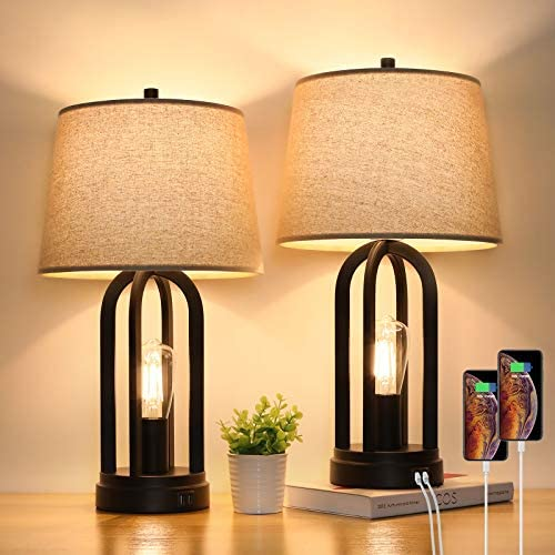 Touch Bedside Table Lamps with Rotary Switch Set of Two 3 Way Dimmable Bedroom Living Room Lamps product image