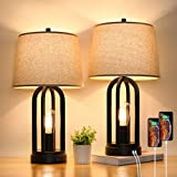 Touch Bedside Table Lamps with Rotary Switch Set of Two , 3-Way Dimmable Bedroom Living Room Lamps with USB Charging Ports, Industrial Nightstand Lamp with Fabric Lampshade for Reading, Bulbs Included