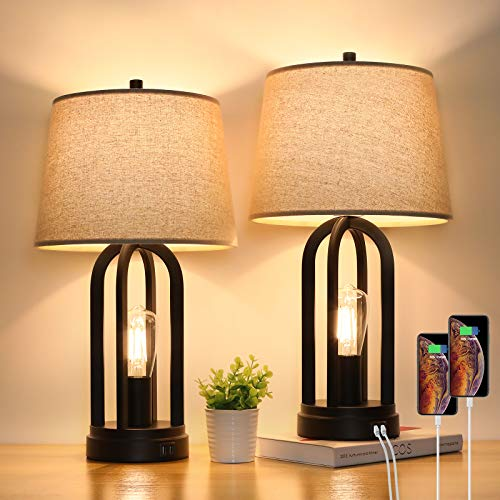 Touch Bedside Table Lamps with Rotary Switch Set of 2, 3-Way Dimmable Bedroom Living Room Lamps with USB Charging Ports, Industrial Nightstand Lamp with Fabric Lampshade for Reading, Bulbs Included