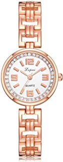 Women Quartz Watch, Elegant Alloy Chinese Style Wristwatch with Metal Band and Rhinestones Dial for Girls and Women