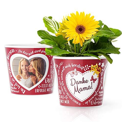 Facepot Danke Mama - Blumentopf (ø16cm) Geschenk zum Geburtstag, Muttertag mit Bilderrahmen für Zwei Fotos (10x15cm)