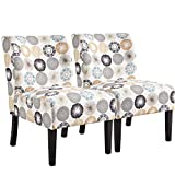 YAHEETECH Fabric Armless Accent Chair Comfy Dining Chair Casual Upholstered Single Sofa Side Chair for Living Room Bedroom, Set of 2