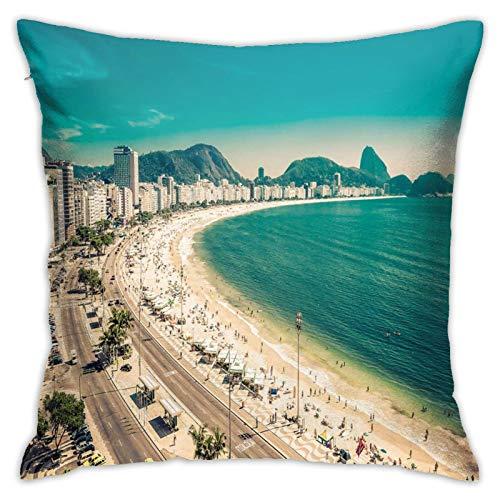DHNKW Kissenbezug Kissenbezug ,Copacabana Beach Ipanema Sugar Loaf Mountain In Rio Famous World Beaches ,18 x 18 Zoll
