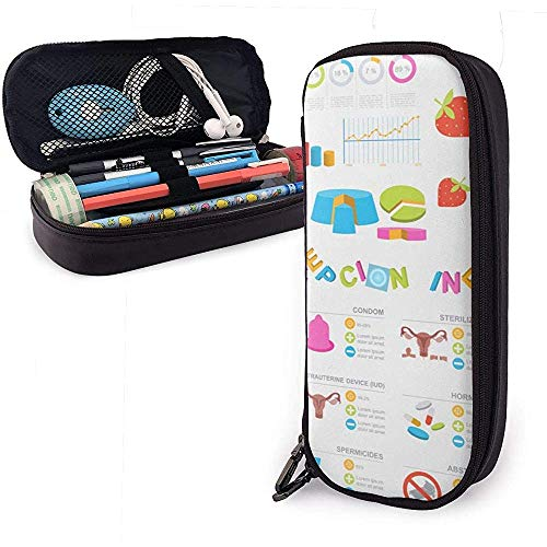 Anticonceptiemethoden Grafische Template Geboorte Lederen Potlood Case met Ritssluiting, PU Lederen briefpapier Potloodhouder Pen Case Pouch