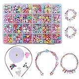 QH-Shop Abalorios perlas de resina de plástico de colores con 24 compartimentos de PVC (400 piezas) estilo étnico