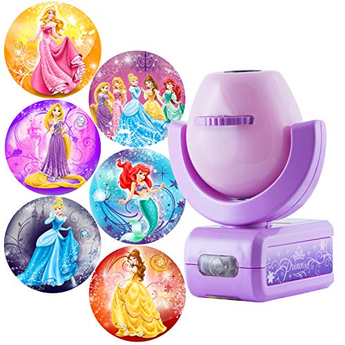 Projectables Disney Princess 6-Image LED Night Light Projector, Dusk-to-Dawn Sensor, Project Princesses Cinderella, Ariel, Aurora, Belle, & Rapunzel on Ceiling, Wall, or Floor, Pink/Purple, 11738