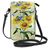 XCNGG Monedero pequeño para teléfono celular Backdrop Colorful Butterfly Cell Phone Purse Wallet for Women Girl Small Crossbody Purse Bags
