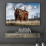 wZUN Highland Ganado Vaca Animal Lienzo Arte Pintura nórdica Carteles e Impresiones Pared escandinava decoración de la Sala Pintura 50x70cm