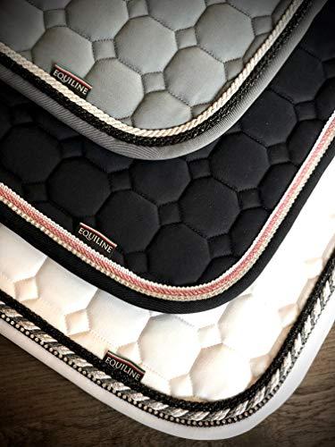 Equiline Schabracke OCTAGONE grau mit schwarzer weißer Kordel, Eq19_Flaw_Gr.:N