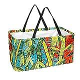 Mosaico de bambú verde plantas modelo bolsas de compra, reutilizables, cestas de almacenamiento, bolsas de compra, grandes bandejas de almacenamiento plegables y plegables