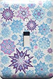 Single Toggle Multicolored Snowflake Light Switch Plate Covers Purple, Pink, and Blue Christmas Snow Flake Wall Decor