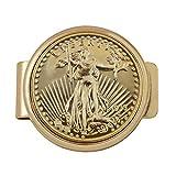 Gold Tone Coin Money Clip - Tribute To $20 1933 Saint Gaudens Double Eagle Gold Piece Goldtone Pocket Money Clip - Holder