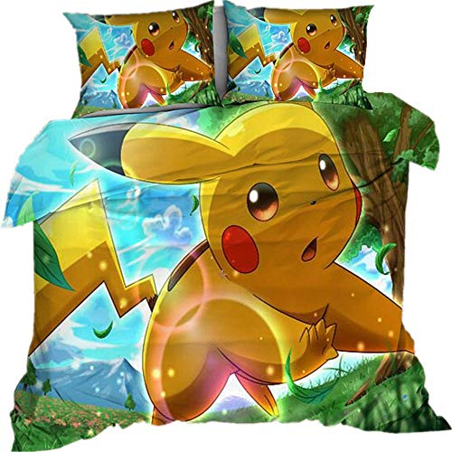 AmenSixye Juego de Cama Estampado de Dibujos Animados 3D Pokemon Pikachu edredón Cubierta de Cama Spead niño Chico Dormitorio Funda nórdica para Cama,210x210cm(3piezas)