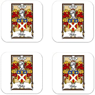 Walker Fife Family Crest Square Coasters Coat of Arms Coasters - Set of 4
