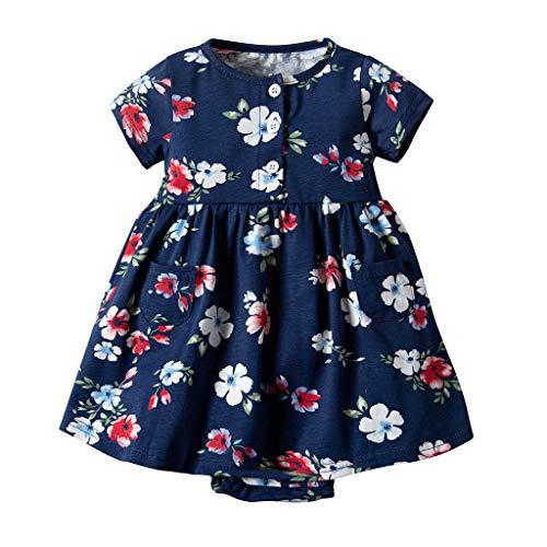 IZHH Kinder Kleider, Kleinkind Kurzarm Kleider Baby Mädchen Kurzarm Blumenkleid Princess Romper Dresses Kleidung 6M-24M Blumendruckkleid(Marine,24M)