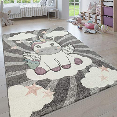 Paco Home Kinderteppich, Moderner Kinderzimmer Pastell Teppich, Niedliche 3D Tiermotive,...