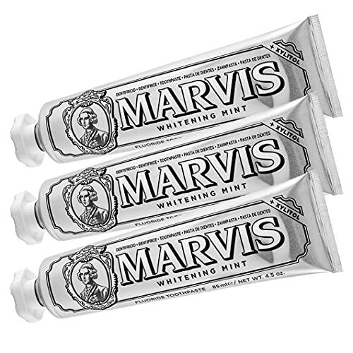 MARVIS Whitening Mint, Zahncreme für strahlend weiße Zähne, hellt Zähne auf und beugt Karies vor, 3 x 85 ml, 3er Pack