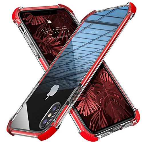 MATEPROX Cover iPhone X,Custodia per iPhone XS,Protezione Anti Scivolo Anticaduta Anti-Shock eAntiurto AntiGraffio Antiurto Posteriore Trasparent Cover per iPhone X/XS -Rosso