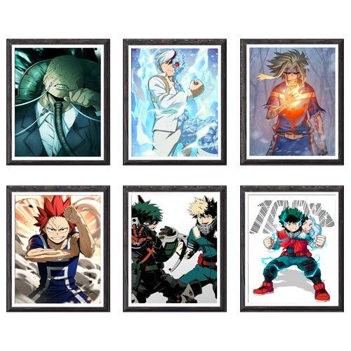 MS Fun Kimetsu no Yaiba Thunder Zenitsu Giyuu Tanjirou Demon Slayer Art Prints Wall Home Decor Canvas Print, 8 x 10 polegadas, sem moldura, conjunto de 6 peças 8 x 10 Inch My Hero Academia Izuku Shouto Katsuki Digital Anime