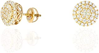 1.03Ct Natural Diamond 14k Yellow Gold Round Screw Back Stud Earrings 10mm