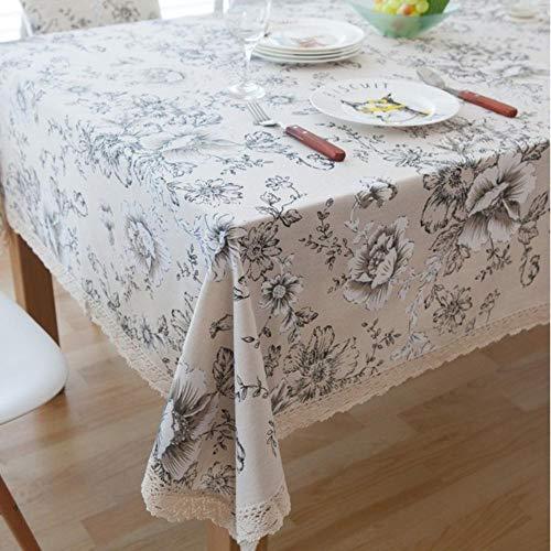 EDCV Home tafelkleed Toren Decoratief Tafelkleed Tafelkleed Rechthoekige eettafel Cover Tafelkleden schoorsteenmantel mesa, Witte pioen