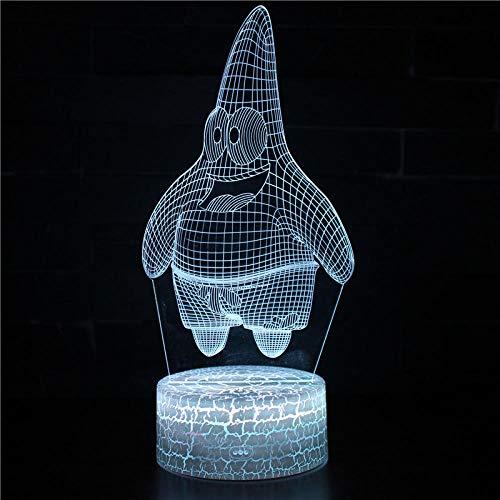 3D Niños luz nocturna Patrick Star 16 colores con control remoto 3D ilusión juguete luz noche, regalos para niños de 4 5 6 años más