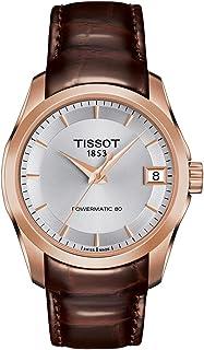ساعة تيسوت كوتيرير أوتوماتيك مينا فضي ستانلس ستيل للسيدات T0352073603100