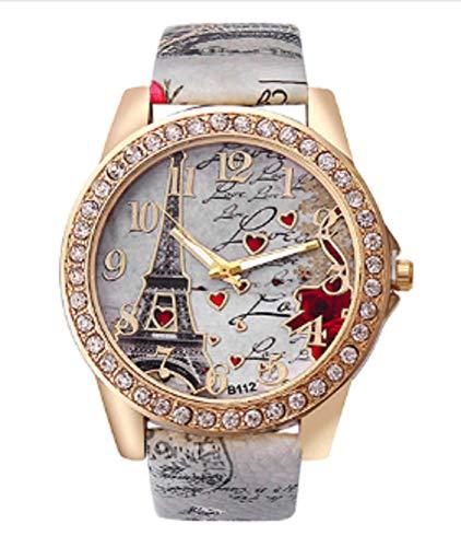 Eiffel Tower Paris W15 - Reloj de pulsera analógico con correa de piel, color blanco