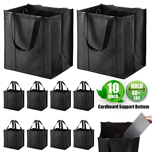 Set of 10 Reusable Grocery Bags Heavy Duty Shopping Bags Large Grocery Totes with Reinforced Bottom...