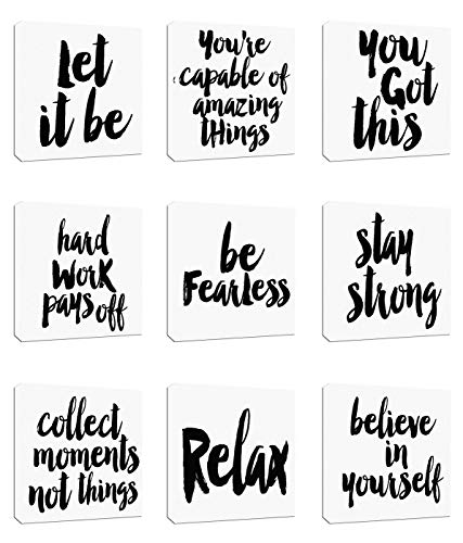 """9Pcs 8x8"""" Canvas Stretched Wood Framed Motivational Inspirational Quotes Letter Words believe in yourself Theme Combine for Home Room Office Wall Decor (20x20cm) (37-45)"""