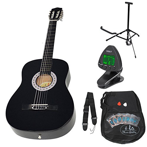 ts-ideen Akustik Gitarre Klassikgitarre Konzertgitarre Schwarz +Tasche und Zubehörset