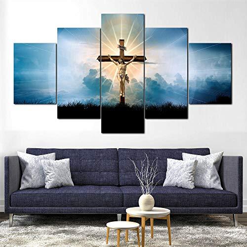 Cuadro en Lienzo Jesucristo Cruz Fe Dios Moderno Impresión de 5 Piezas Impresión Artística Imagen Gráfica Decoracion de Pared - Enmarcado