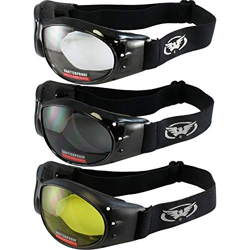 Tres (3) pares acolchada motocicleta gafas de Airsoft Gafas vienen con, humo, transparente y amarillo día y noche conducción gafas de comodidad usted debe tener para cualquier condición climática