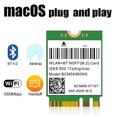 Plug & Play Hackintosh M.2 NGFF WLAN BCM94360NG 802.11ac Bluetooth 4.0 WiFi Card for PC Catalina mac OS Native Support macOS AirDrop Continuity Handoff Better BCM94352Z DW1560 Support Intel NUC