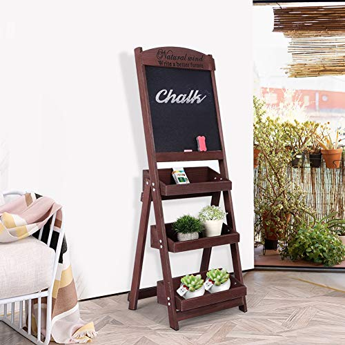 EBTOOLS bloementrap, 3-traps plantentrap, inklapbaar, ladderrek, tuinrek, bloemenrek, houten rek, display plank met tafel, pak voor het bewaren van bloemen en boeken, 42 x 55 x 114 cm bruin