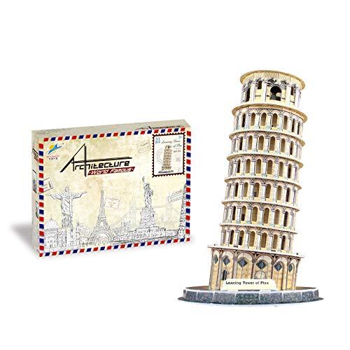 Auveach Puzzle 3D Modello Puzzle Creativo Mondo Grande Architettura Giocattoli Fai da Te Kit Artigianale Miglior Regalo Educativo per Bambini (Leaning Tower of Pisa)