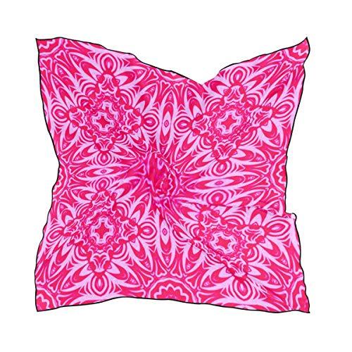 Bufandas de moda para mujer, patrón geométrico real Textura de encaje Mandala Cuadrado Sensación de seda Pañuelo para el cabello...
