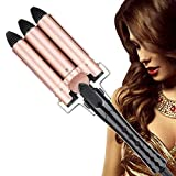 Hair Waver, Culwad Hair Curler 3 Barrel Curling Iron Wand Adjustable Temperature, Curling
