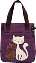 Back to School Deals Sale Offers 2019-Valentoria Cute Cat Design Multifunction Women's Canvas Zipper Closure Handbag Shoulder Lunch Tote Bag with Large Capacity Best Gifts for Teen Girls