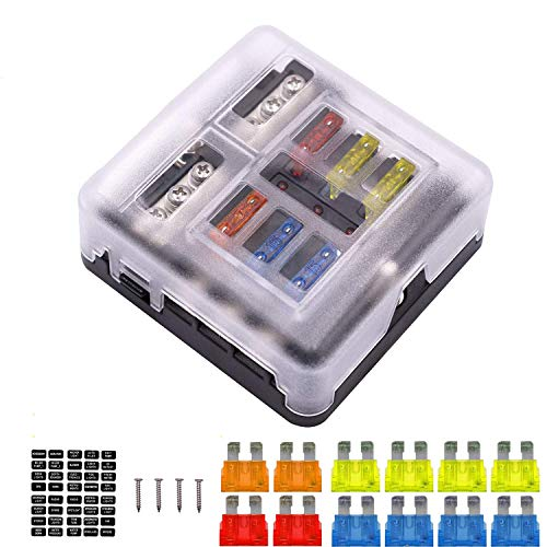 ATO ATC ATM Add-a-Circuit Kit Auto Low Profile Mini Fuse TAP Holder with 8 PCS Fuses Assortment for Car Truck SUV Adding circuits DIY 2A, 3A, 5A, 10A, 15A, 20A, 25A, 30A