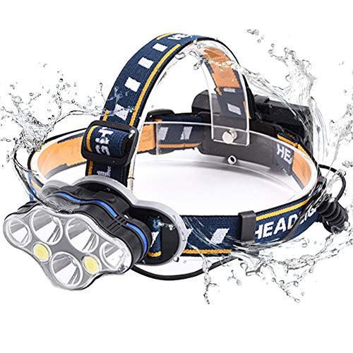 Lámpara de Cabeza, BETECK Linterna Frontal 15000LM Recargable USB 8 Modos de Luz 7 LED, IPX4 Impermeable para Camping, Pesca, Ciclismo, Carrera, Caza